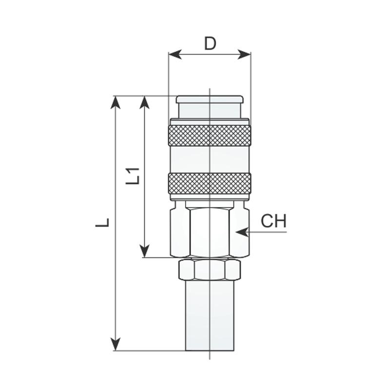 Cupla rapida mama pentru furtun 6x14mm, tip 458/1