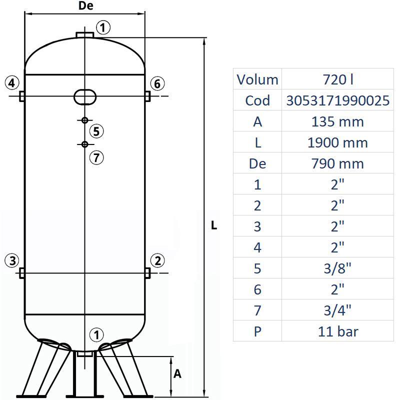 Rezervor de aer 720 l, vertical, 11bar, zincat, Made in Italy