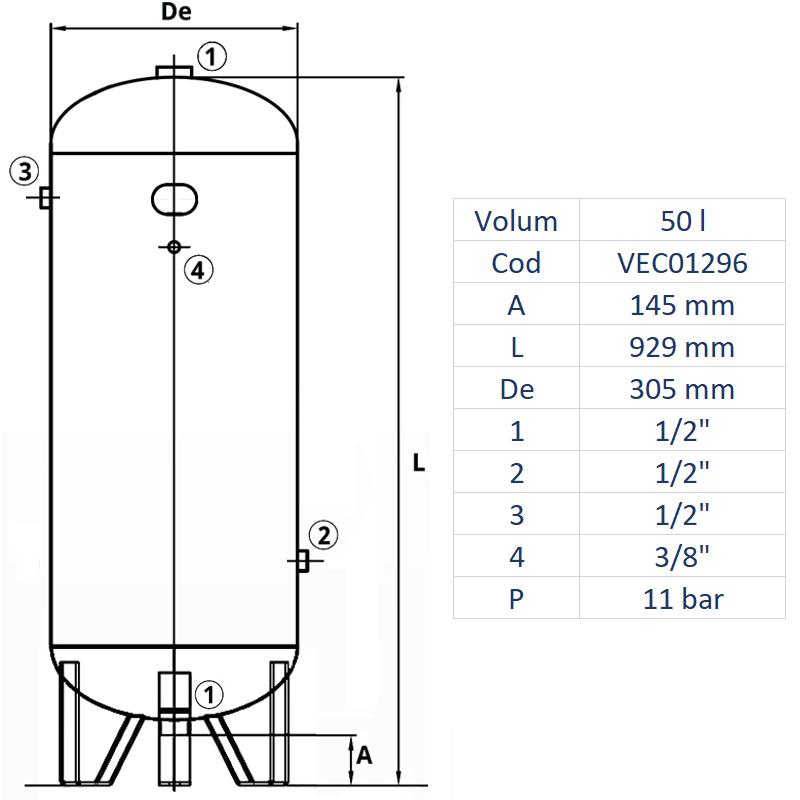 Rezervor de aer 50 l, vertical, 11bar, vopsit, Made in Italy